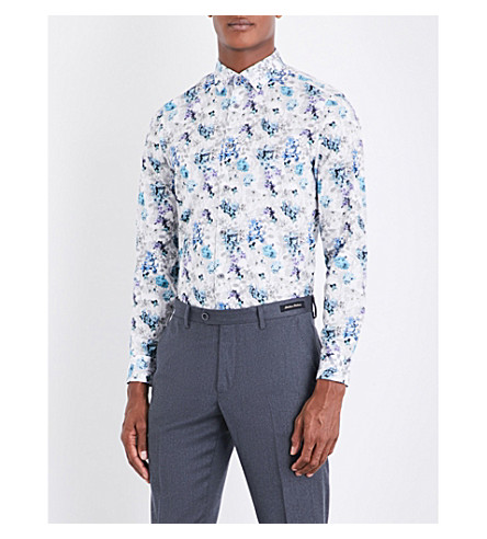 TED BAKER Bakeio floral-print cotton shirt (White