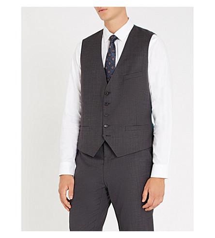 TED BAKER Debonair Palacew modern-fit wool and satin waistcoat (Charcoal