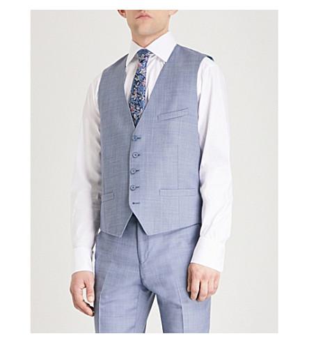 TED BAKER Debonair modern-fit wool waistcoat (Light+blue