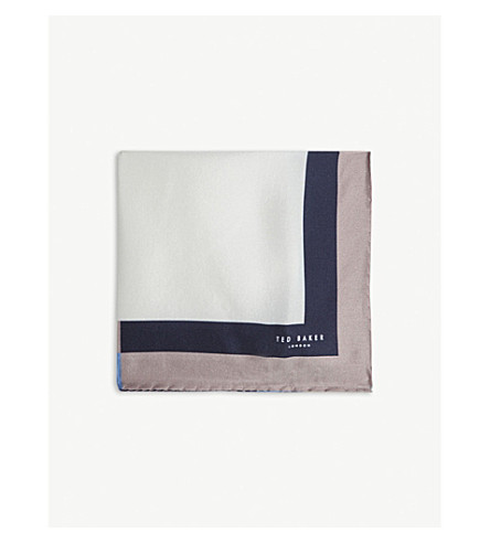 TED BAKER Hoplias multi-coloured border silk pocket square (White