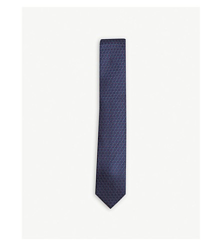TED BAKER Balti geometric-circle silk tie (Navy