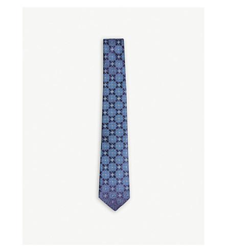 TED BAKER Ewing jacquard tile silk tie (Blue