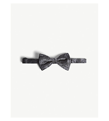 TED BAKER Paisley-patterned silk bow tie (Grey