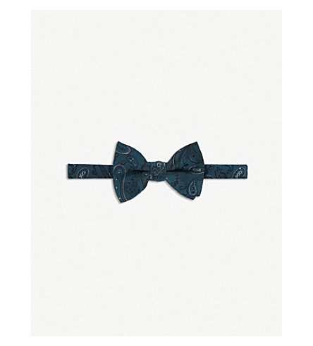 TED BAKER Paisley-patterned silk bow tie (Teal