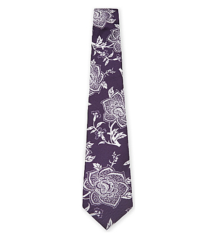 TED BAKER Floral silk tie (Purple