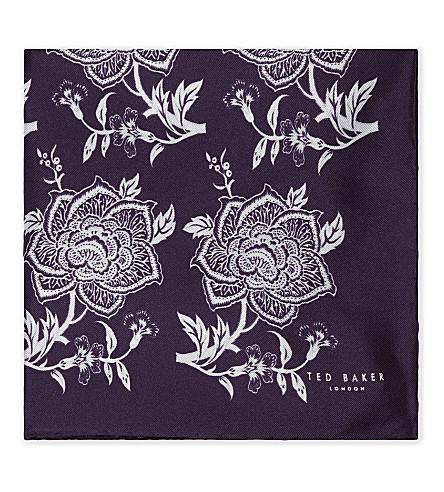 TED BAKER Floral silk pocket square (Purple