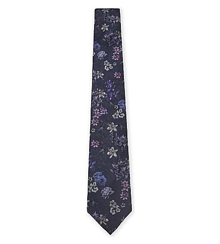TED BAKER Floral silk tie (Black