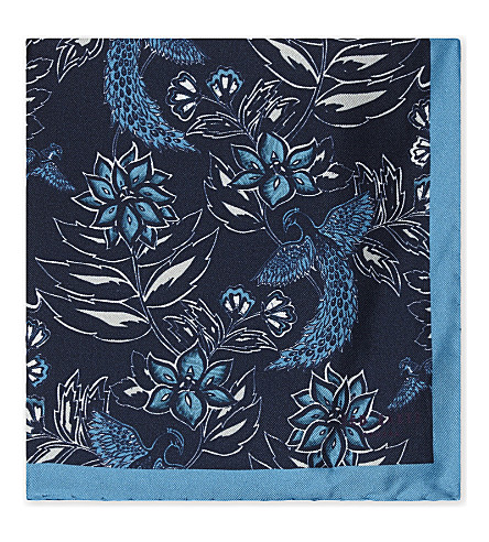 TED BAKER Floral silk pocket square (Black