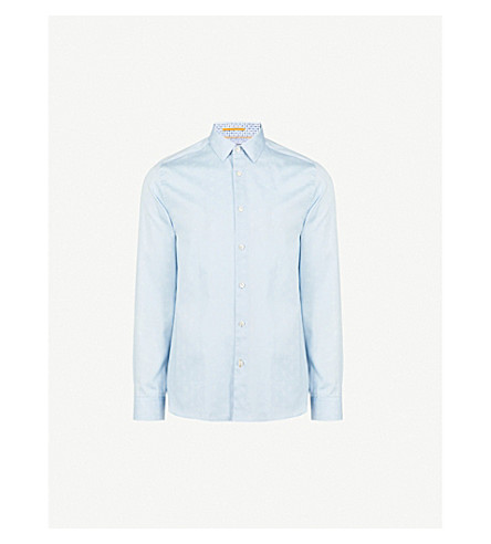 TED BAKER Ananda geo-patterned modern-fit cotton shirt (Pale+blue