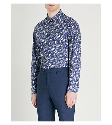 TED BAKER Floral-print cotton shirt (Navy