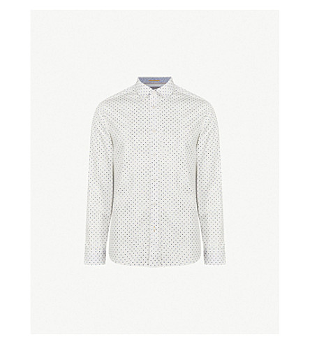 TED BAKER Saandy polka-dot modern-fit cotton shirt (Blue
