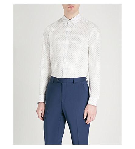 TED BAKER Saandy polka-dot modern-fit cotton shirt (Blue
