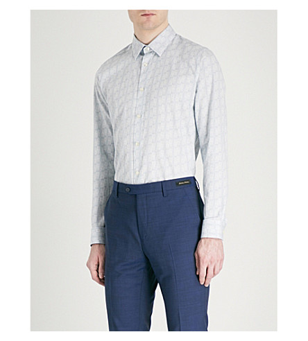TED BAKER Skyee geo-print modern-fit coton shirt (Blue