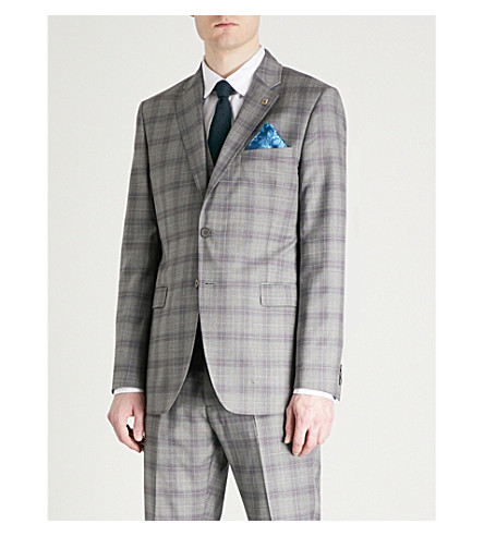 TED BAKER Debonair Dorlnj checked modern-fit suit jacket (Light+grey