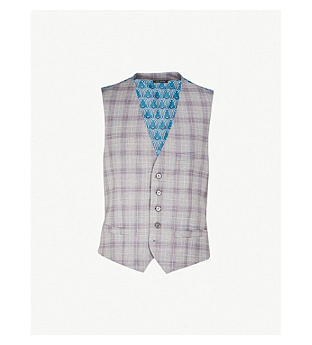 TED BAKER Debonair Dorlnw checked modern-fit wool and satin waistcoat (Light+grey
