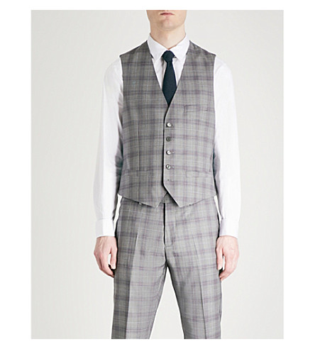 TED BAKER Debonair Dorlnw checked modern-fit wool waistcoat (Light+grey