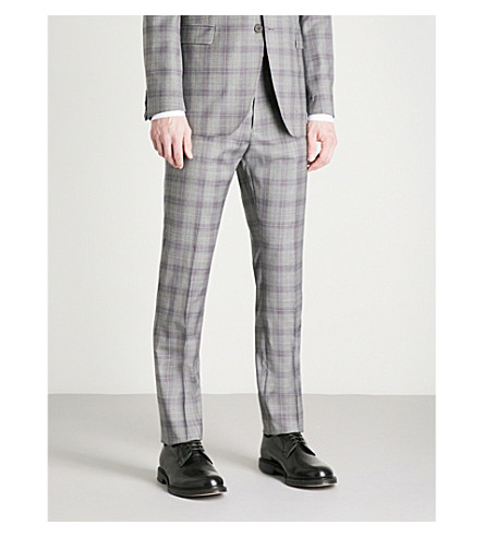 TED BAKER Debonair Dorlnt checked modern-fit wool trousers (Light+grey