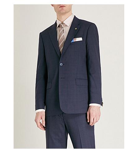 TED BAKER Videbj checked modern-fit wool jacket (Blue