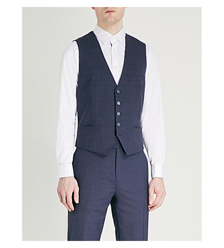 TED BAKER Debonair Videbw checked modern-fit wool and satin waistcoat (Blue