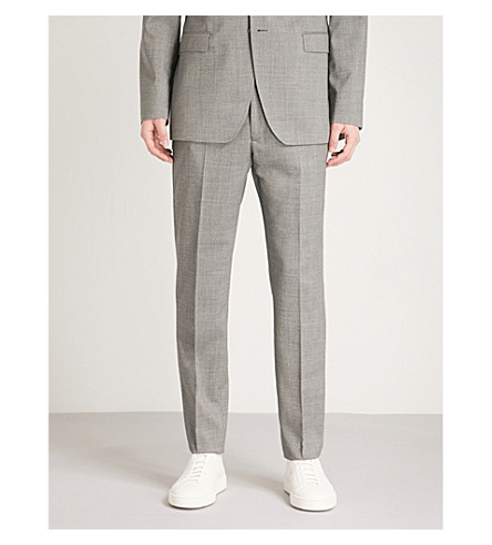 TED BAKER Debonair modern-fit wool trousers (Light+grey