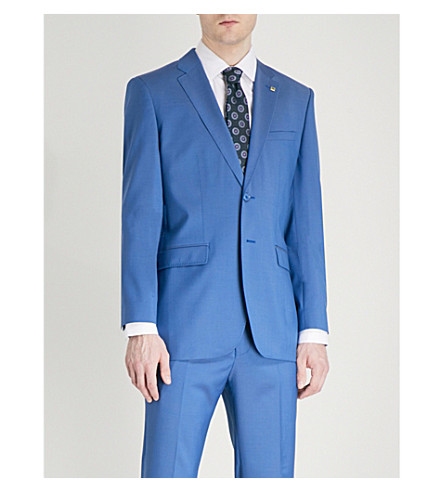 TED BAKER Debonair modern-fit wool jacket (Mid+blue