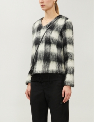 JW Anderson checked V-neck wool jumper