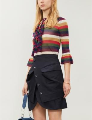 Gucci stripe-print metallic-knot top