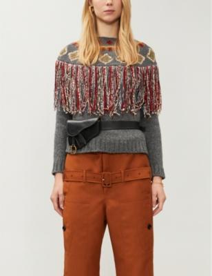 Christian Dior geometric-embroidered cashmere jumper