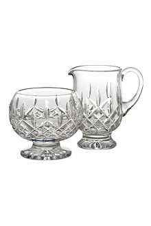 WATERFORD Lismore crystal sugar and cream servers
