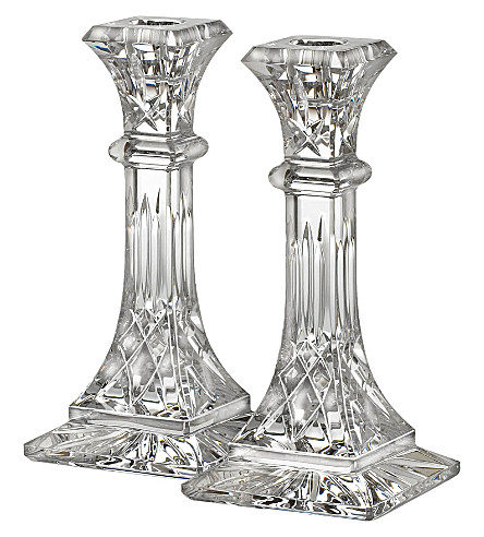 WATERFORD Lismore pair of crystal candlesticks 20cm
