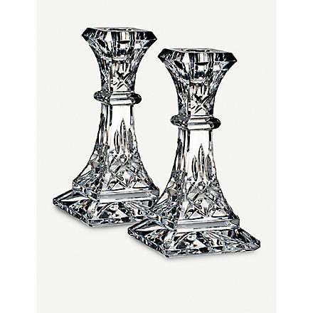 WATERFORD Lismore pair of crystal candlesticks 15cm
