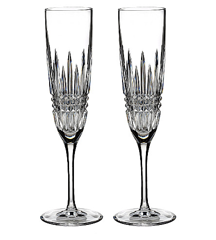 WATERFORD Set of two Lismore Diamond champagne flutes