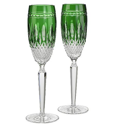 WATERFORD 克拉伦登翡翠香槟长笛一套两个