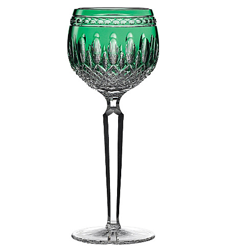 WATERFORD Set of two Clarendon Emerald Hock wine glasses