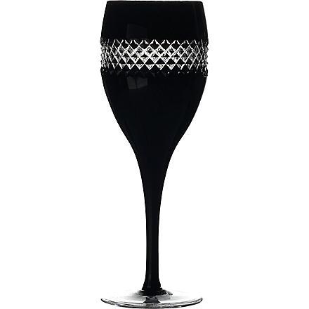 JOHN ROCHA @ WATERFORD Black Cut pair of crystal red wine glasses