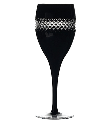 JOHN ROCHA @ WATERFORD Black Cut pair of crystal red wine glasses
