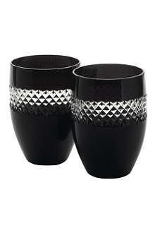 JOHN ROCHA @ WATERFORD Black Cut pair of crystal tumblers