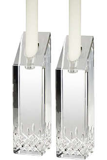 WATERFORD Lismore Essence pair of crystal candlesticks holders 20cm