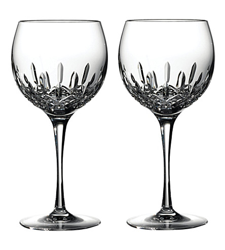 WATERFORD Lismore Essence pair of crystal balloon wine glasses