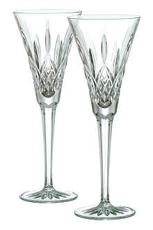 WATERFORD Set of two Lismore toasting flutes