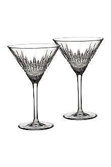 WATERFORD Set of two Lismore Diamond martini glasses