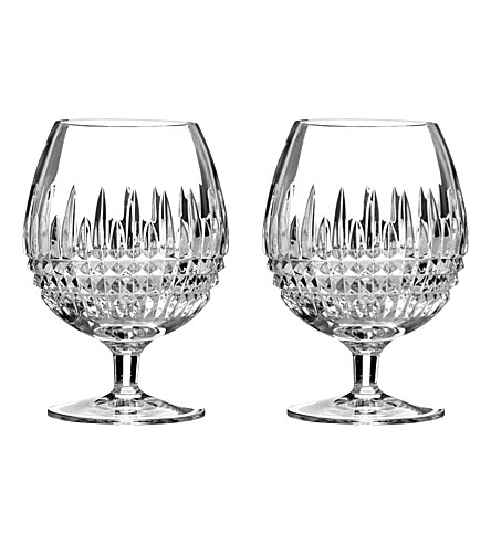 WATERFORD Set of two Lismore Diamond brandy glasses
