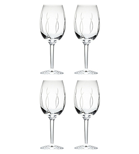 JOHN ROCHA @ WATERFORD Set of four crystal wine goblets