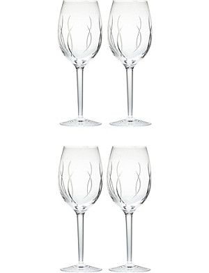 JOHN ROCHA @ WATERFORD Set of four crystal wine glasses
