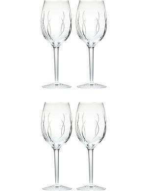 JOHN ROCHA @ WATERFORD Set of four crystal wine glasses