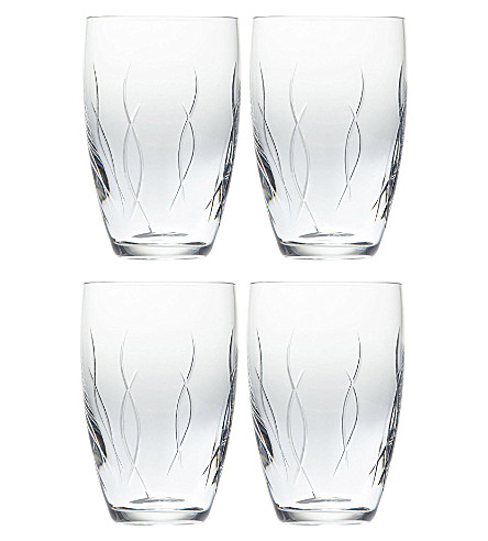 JOHN ROCHA @ WATERFORD Set of four crystal tumblers