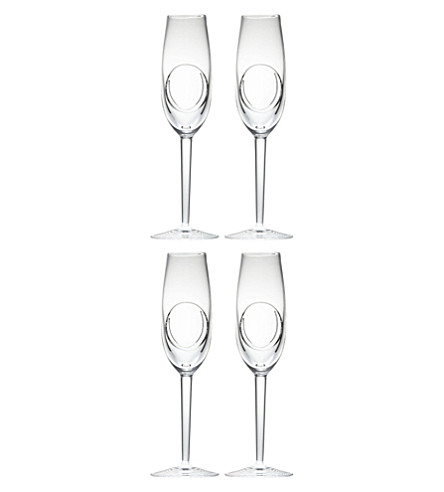 JOHN ROCHA @ WATERFORD Set of four crystal flutes
