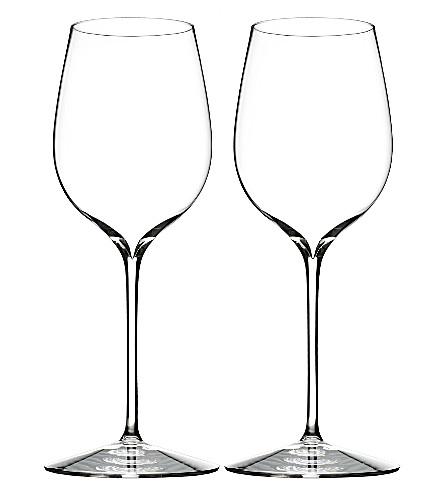WATERFORD两个优雅的黑葡萄酒眼镜套装