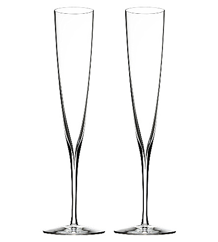 WATERFORD Set of two Elegance Champagne Trumpet Flute glasses