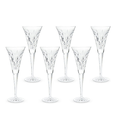 WATERFORD Lismore set of six toasting flutes